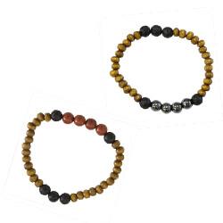 Bracelet lave bois jaspe ou hématite POUR RIGUEUR ET COURAGE