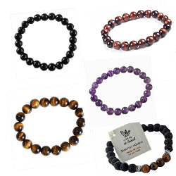 Bracelets perles améthyste - onyx - oeil de taureau - oeil de tigre - lave et oeil de tigre POUR LA PROTECTION